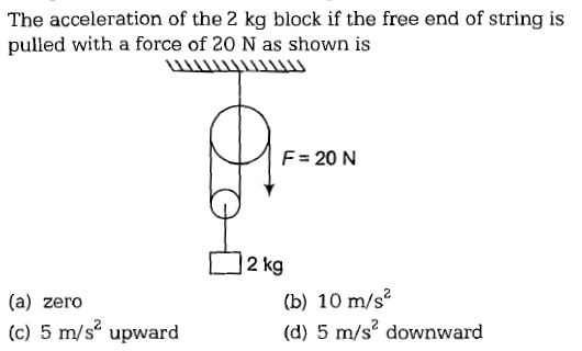 The acceleration of the 2 kg block if the free end of string is pulled with a force of 20 N as shown is TIII F 20N 2 kg (a) zero (c) 5 m/s2 upward (b) 10 m/s (d) 5 m/s' downward